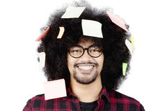 Man looks confident with sticky notes Stock Photo