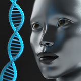 Man looks at the DNA molecule Royalty Free Stock Photo