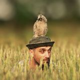A man looks out of the grass with an owl on his head and looks in different directions Stock Photos