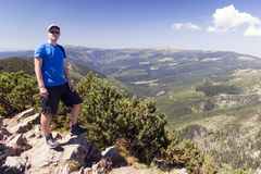 Man looks out over the mountains, Hike Stock Photos