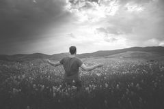Man looks up tot he sky with hope. Man waiting for a miracle Royalty Free Stock Images
