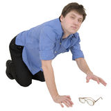 Man lose the spectacles Royalty Free Stock Photo