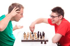 Man loses while playing chess Stock Photos