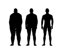 Man losing weight. In silhouette illustration Royalty Free Stock Images