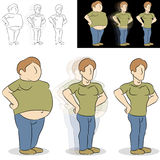 Man Losing Weight Transformation. An image of a man losing weight transformation royalty free illustration