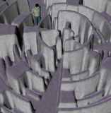 Man lost in maze illustration. Man trying to find a way out of a complex maze labyrinth. 3d illustration vector illustration