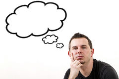 Man lost in thoughts. Clouds with copy space isolated on white Royalty Free Stock Image