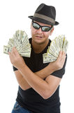 Man with lots of 100 dollar notes Royalty Free Stock Photo