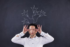 Man with lots of creativity stock photo