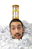 Man with lots of crumpled paper Stock Photography