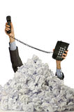 Man with lots of crumpled paper Royalty Free Stock Photography