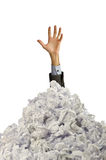 Man with lots of crumpled paper Stock Photos