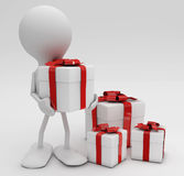 Man with lots of gifts. Stock Photos