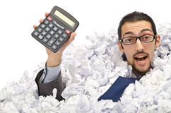 Man with lots of paper royalty free stock images