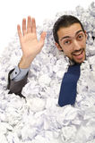 Man with lots of  paper Stock Image