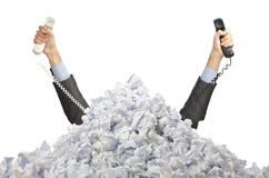 Man with lots of   paper Stock Photography