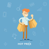 Man with lots of shopping bags from the store Royalty Free Stock Photography