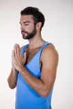 Man in lotus pose with eyes closed Stock Images