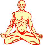 Man Lotus Position Asana Woodcut Royalty Free Stock Photos