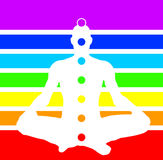 Man in lotus position with chakras. An illustration of a man sitting in the lotus position with seven chackras with respective colours in the background Royalty Free Stock Images