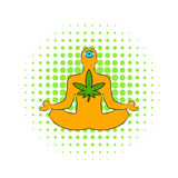 Man in lotus position with marijuana leaf icon Stock Image