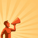 Man with Loudspeaker. An illustration of a man with loudspeaker in retro style. Fully editable EPS 10 Royalty Free Stock Photography