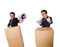 The man with loudspeaker in the box. Man with loudspeaker in the box Royalty Free Stock Photography