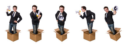 The man with loudspeaker in the box. Man with loudspeaker in the box Royalty Free Stock Images