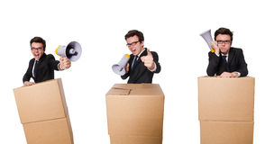 The man with loudspeaker in the box Stock Photo