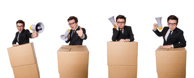 The man with loudspeaker in the box. Man with loudspeaker in the box Royalty Free Stock Photos