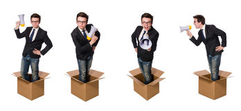 The man with loudspeaker in the box Stock Images