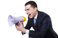 Man with loudspeaker Stock Photos