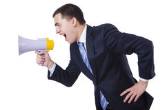 Man with loudspeaker Royalty Free Stock Photography