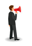 Man with loudspeaker. Man with megaphone; speaking business man in official clothes; isolated side view man; vector illustration royalty free illustration