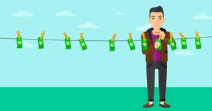 Man loundering money. Royalty Free Stock Photo