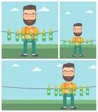 Man loundering money vector illustration. Stock Photos