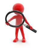 Man with loupe (clipping path included) Stock Images