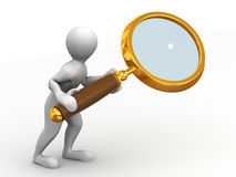 Man with loupe. Search. 3d Royalty Free Stock Photo