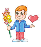 Man in love. With flowers Stock Photos