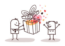 Man in love giving a present to a woman. Vector Stock Photos