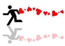 Man with love graphic. Man being chased with love graphic Royalty Free Stock Photo