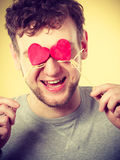 Man in love with hearts. Royalty Free Stock Photo