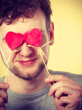 Man in love with hearts. Stock Images