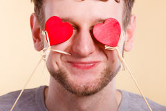 Man in love with hearts. Stock Image