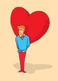 Man in love hiding a huge heart or feelings Stock Image