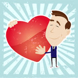 Man In Love Holding A Heart Royalty Free Stock Photos