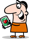Man with love message on tablet cartoon. Cartoon Illustration of Funny Man Reading Love Message or Valentine on his Tablet PC for Valentines Day Stock Images