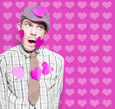 Man In Love Romance On Heart Design Background. Man In Love Romance Covered In Hearts On Card Copyspace Background Stock Image