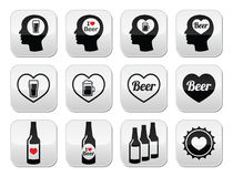 Man loving beer  buttons set Stock Images