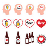 Man loving beer  icons set Royalty Free Stock Photography